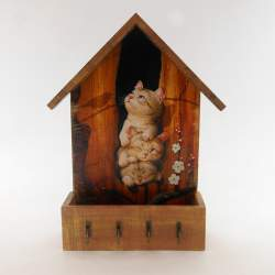 Ключница домик с ящиком «Котята»