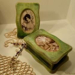 Комплект шкатулка с фоторамкой «Зеленый бархат» h-033