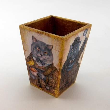 Кашпо карандашница «Серый кот»