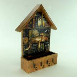 Ключница домик с ящиком «Кот в библиотеке»