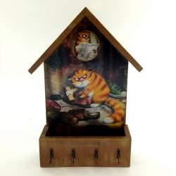 Ключница домик с ящиком «Серьезный Кот»