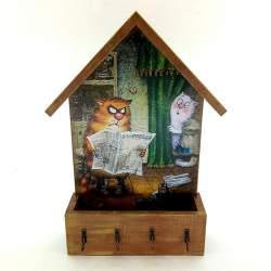 Ключница домик с ящиком «Правда Кот»