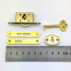 Замок кассетный с ключиком, золото