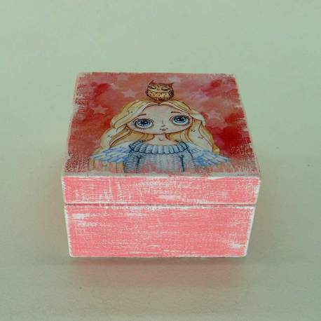 Шкатулка мини «Девочка с совенком»