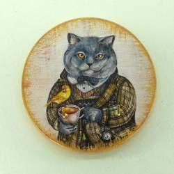 Ключница мини «Солидный кот»